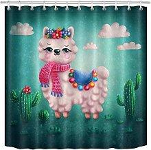 JHTRSJYTJ Cute llama alpaca green cactus Shower
