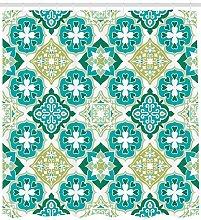 JHTRSJYTJ Cyan color tile pattern Shower curtain