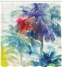 JHTRSJYTJ Tropical watercolor palm vintage Shower