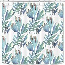 JHTRSJYTJ Watercolor exotic tropical green leaves