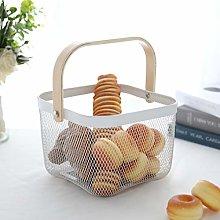 JHY DESIGN Metal Storage Basket 26cm with Wood