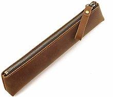 JIAGU Genuine Leather Pencil Case Vintage Pouch