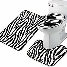 JIAHU Zebra Flannel Lid Toilet Cover Pedestal Rug