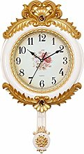 JIAJBG Clock European Style Retro Wall Gold