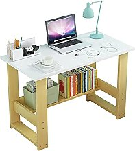 JIAJBG Computer Desk with Bookshelf Study Writing