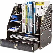 JIAJBG Office Storage Box Wood Bookshelf with