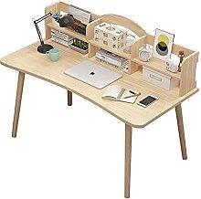 JIAJBG Wood Computer Desk with Storage Shelf