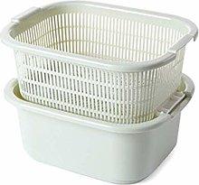 JIANGAA Kitchen Drain Basket, Double Fruit Bowl