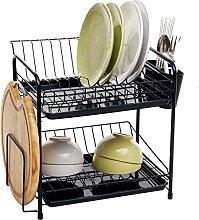 JiangKui Dish Drying Shelf Black Double Dish Rack