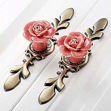JIANGQIAO 1Pc Door Handle Pink/White Rose Vintage