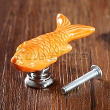 JIANGQIAO 1Pc Fish Shape Ceramic Drawer Knobs