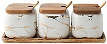 JIAODIE Sugar Bowl, Ceramic Marble Spice Bowl with
