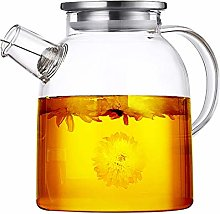 JIAQI Glass Water Pitcher with Lid - 54 Oz Large