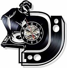 jiaxu Vinyl Record Wall Clock Vinyl Record Mute DJ