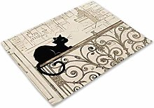 JIAYAN Black Cats Placemats Gift Piano Pattern