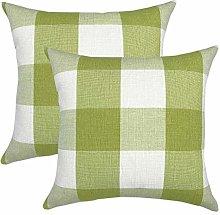 jieGorge Cushion Cover, 2PC Striped Plaid Linen