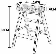 JIN Practical Step Stool Household Solid Wood Step