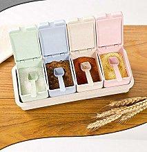 JINAN 4 Grids/Set Seasoning Rack Spice Pots Box