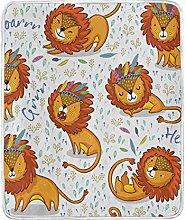 JinDoDo Blanket Abstract Animal Lovely Lion Throw