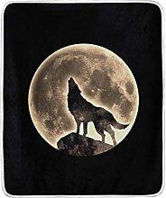 JinDoDo Blanket Animal Wolf Full Moon Throw