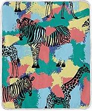 JinDoDo Blanket Animal Zebra Giraffe Pattern Throw