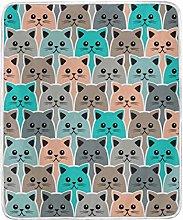 JinDoDo Blanket Cartoon Animal Cat Pattern Throw