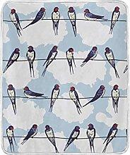 JinDoDo Blanket Cartoon Animal Sparrow Sky Throw