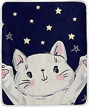 JinDoDo Blanket Cute Animal Cat Star Throw Blanket