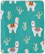 JinDoDo Blanket Lovely Animal Alpaca Cactus Throw
