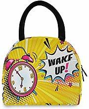 JinDoDo Insulated Lunch Bag Pink Alarm Clock