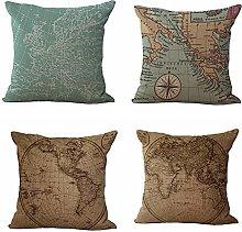 JINGMEIQQ Set Of 4 Cotton Linen Square Cushion