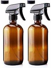 JINLE 2 Pack 250ml Amber Glass Spray Bottle Empty