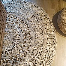 JINTIANSDS Round Straw Woven Area Rug,Meditate
