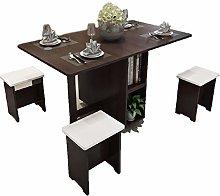 JISHIYU-Q Brown 5-piece Set Table+4 Stool Dining