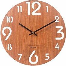 JISKGH Wooden 3D Wall Clock Modern Brief Living