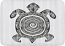 JISMUCI Bath Mats for Bathroom,Turtle Maori Tattoo
