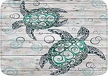 JISMUCI Bath Mats for Bathroom,Turtle Sea Marine