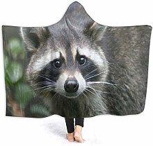 JISMUCI Hoodie Blanket Warm Flannel,Raccoon