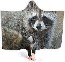 JISMUCI Hoodie Blanket Warm Flannel,Raccoon Cute