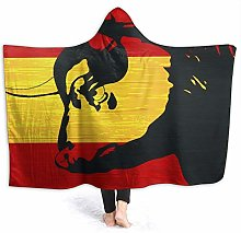 JISMUCI Hoodie Blanket Warm Flannel,Red Matador