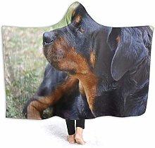JISMUCI Hoodie Blanket Warm Flannel,Rottweiler Dog