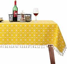 JJ PRIME Rectangular Cotton Linen Fabric Table