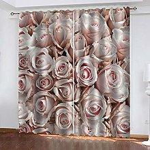 JJDSL Curtains Insulated for Bedroom Pink rose