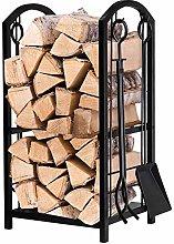 jjff Large Fireplace Log Rack with 4 Tools