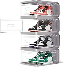 JJYGONG Clear Shoe Organizer Boxes 4 Pack, Plastic