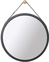 JJYGONG Round Glass Wall Mirror Art Wood Frame,