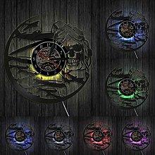 jjyyy Skull Aviator Vinyl Record Wall Clock