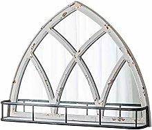JJZI-L Distressed Decorative Mirror, Wooden Frame