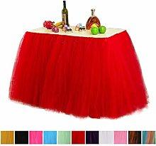 JK Home 100CM*80CM Tulle Fluffy Table Skirt Tutu