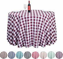 JK Home Checkered Round Polyester Tablecloth -